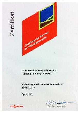 Zertifizierter Viessmann Wärmepumpenpartner 2012/2013