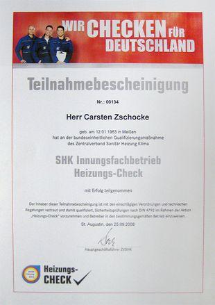 Teilnahmebescheinigung an der Qualifizierungsmaßnahme SHK Innungsdachbetrieb Heizungs-Check des Zentralverband Sanitär Heizung Klima (September 2008)